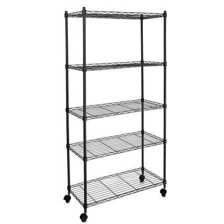 5-Tier 550lbs Capacity Rolling Rack Wire Shelving with ...