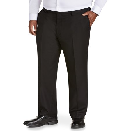 Canyon Ridge Big Men's Solid Black Flat Front Suit Pant, up to size -