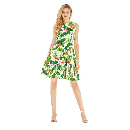 Hawaii Hangover Women's Vintage Fit and Flare Dress 2XL Bird of - Hawaiian Womens Clothes