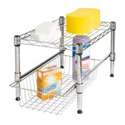 Honey Can Do Shelf With Adjustable Under Cabinet Organizer, Chrome