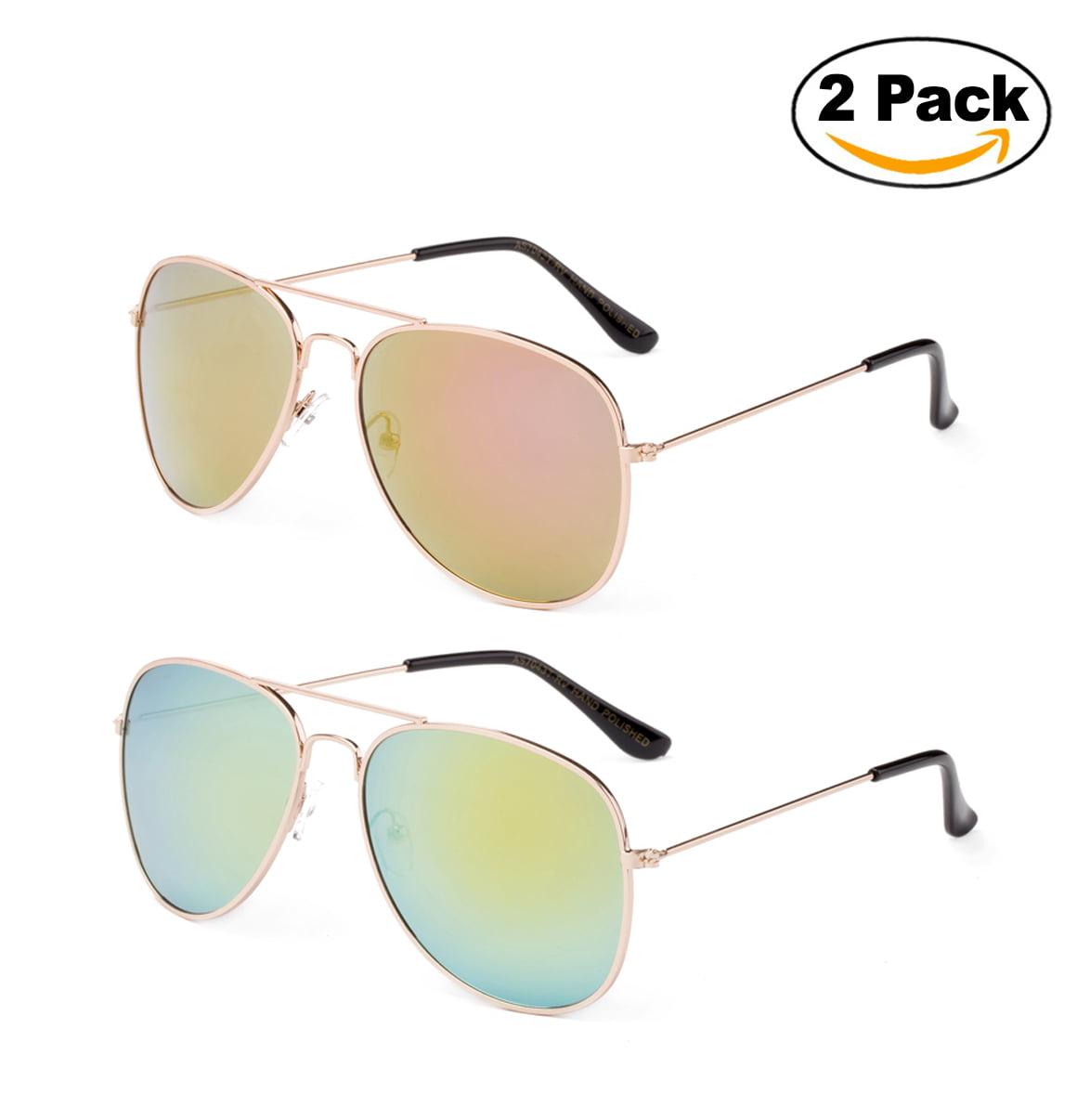 Newbee Fashion - 2 Pack & 3 Pack Classic Aviator Sunglasses Flash Full Mirror lenses Metal Frame for Men Women UV Protection