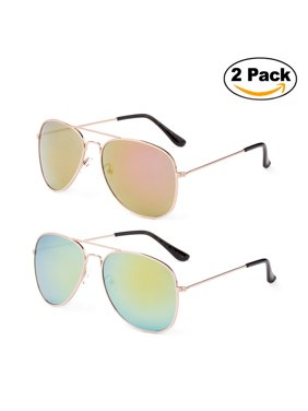 c5be7d20e Product Image Newbee Fashion - 2 Pack & 3 Pack Classic Aviator Sunglasses  Flash Full Mirror lenses Metal