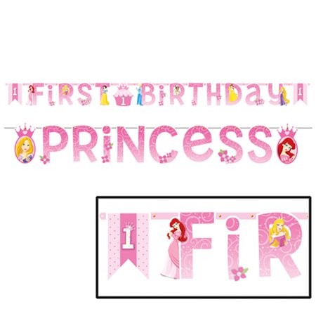 Disney Princess 1st Birthday Jumbo Letter Banner (1ct) - Princess Birthday Banner