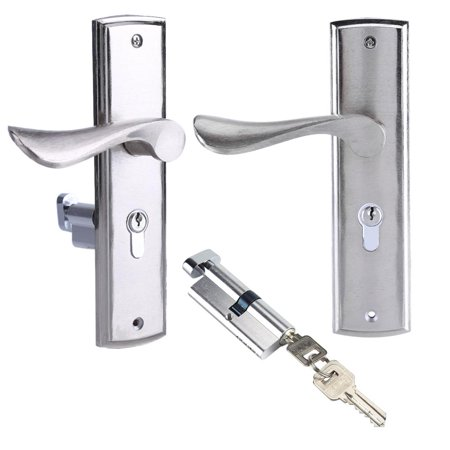 WALFRONT Durable Door Handle Lock Cylinder Front Back Lever Latch Home Security with Keys,Lock, Home Lock Front 3 Pos Lock