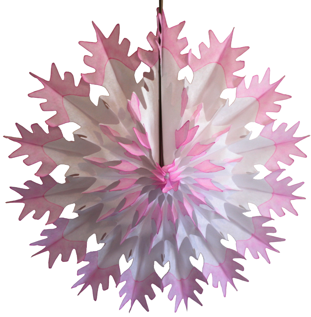3-Pack Devra Party 19 Inch Tissue Paper Snowflake Decoration, Pink Tip
