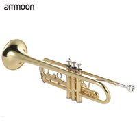 ammoon Trumpet Bb Flat Brass Gold-painted Exquisite Durable Musical Instrument with Mouthpiece Gloves Strap Case