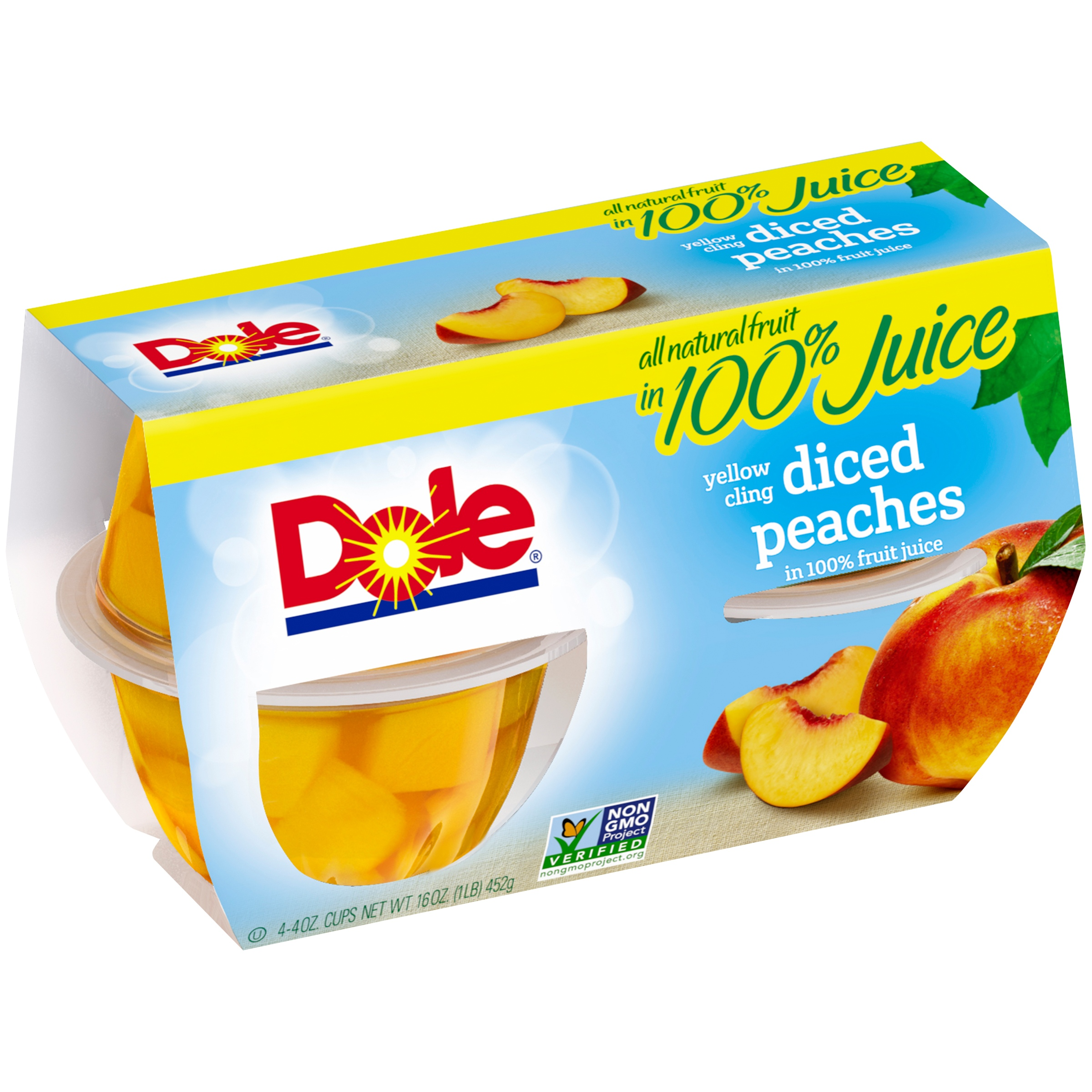 Dole® Diced Peaches in 100% Juice, 4-4 oz. Cups