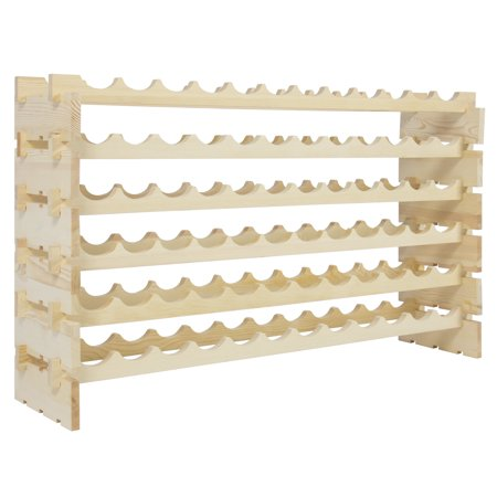Best Choice Products 6-Tier Stackable Storage Wood Wine Rack for 72 Bottles - Natural