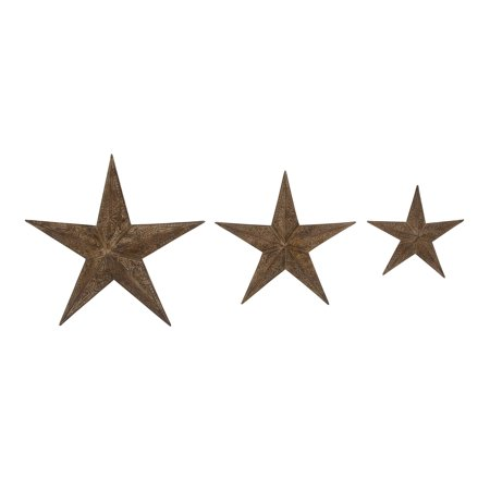 - Decmode Farmhouse 13, 18, And 24 Inch Iron Barn Star Wall Decor - Set of 3