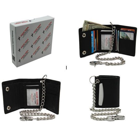 RFID Men Cow Leather Tri-fold Chain Wallet 112 For Biker Motorcycle
