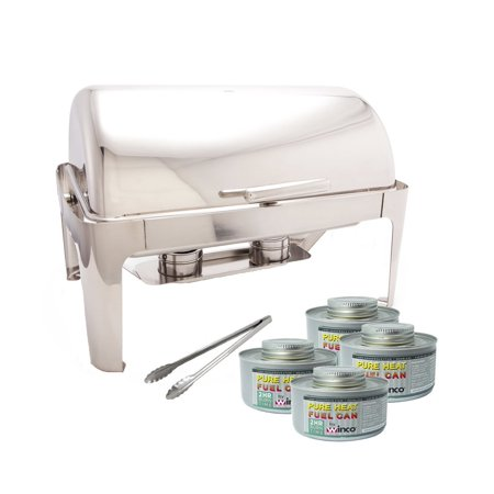 ProstoWare PWR-1RE, Full-size Roll-Top Chafer ,Stainless Steel 8 Quart Chafing Dish Set with 2 Chafing Dish Fuel and 16-Inch Stainless Steel Multi-Function Tong