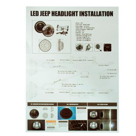 7 Inch Round Hi-Lo Beam Headlights Halo Angle Eyes For Jeep 97-15 For Wrangler JK/TJ/LJ - image 2 de 8