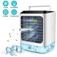 Personal Air Cooler, 4 in 1 Air Space Conditioner, Mini USB Fan Evaporative Spray Humidifier Purifier with Remote, Portable Desk Cooling Fan for Home Room Office Outdoor