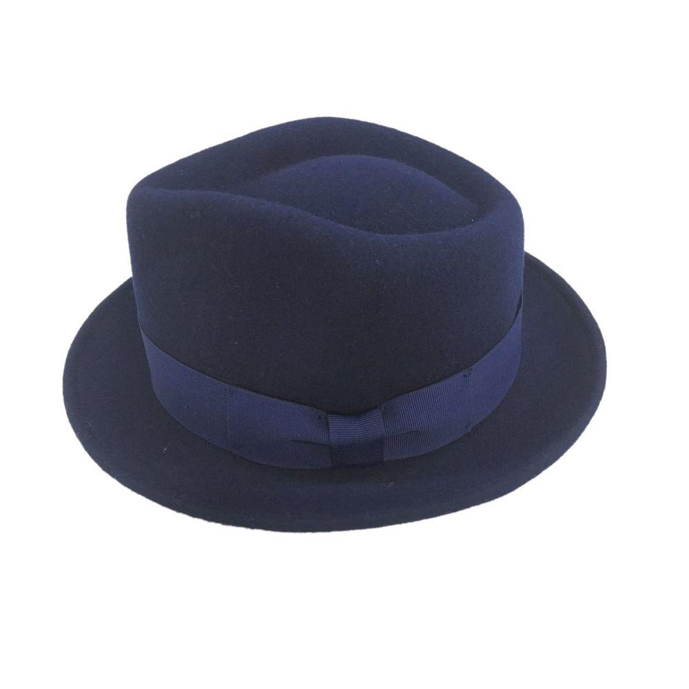 589b52a1858a7 Alpas Men s Classic Bugsy Navy 100% Wool Felt Fedora