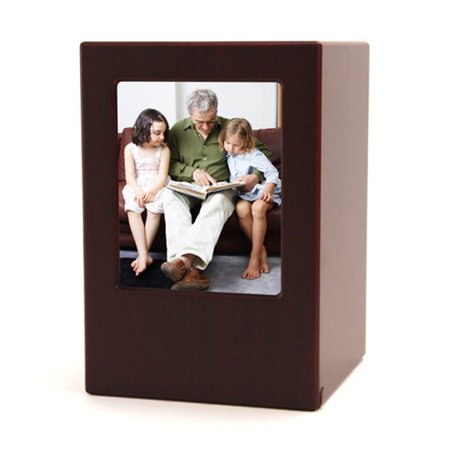 Large Wood Urn - Wood Memorial Urn For Loved Ones - Large 200 Pounds - Cherry Wood Brown Photo Frame