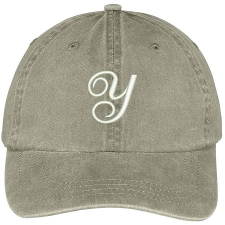 Trendy Apparel Shop Letter Y Script Monogram Font Embroidered Washed Cotton Cap - Monogram Script Font