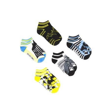 Batman Socks (Batman No Show Socks, 5 Pairs (Little Boys & Big)