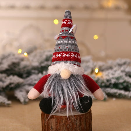 Christmas Knitted Plush Gnome Doll Ornament Christmas Tree Wall Hanging Pendant Holiday Decor Gift ()
