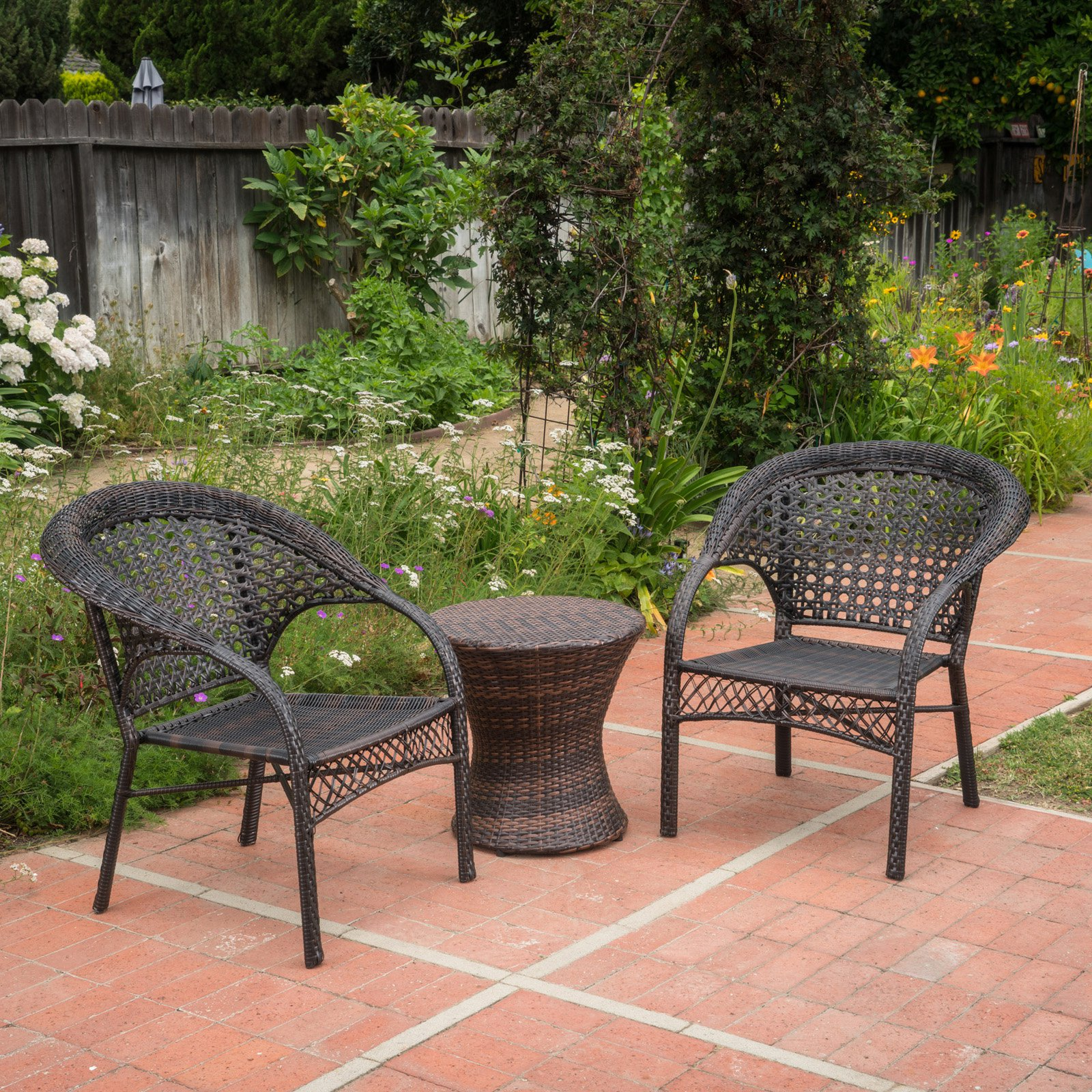 Monroe Wicker 3 Piece Outdoor Stacking Chair Chat Set