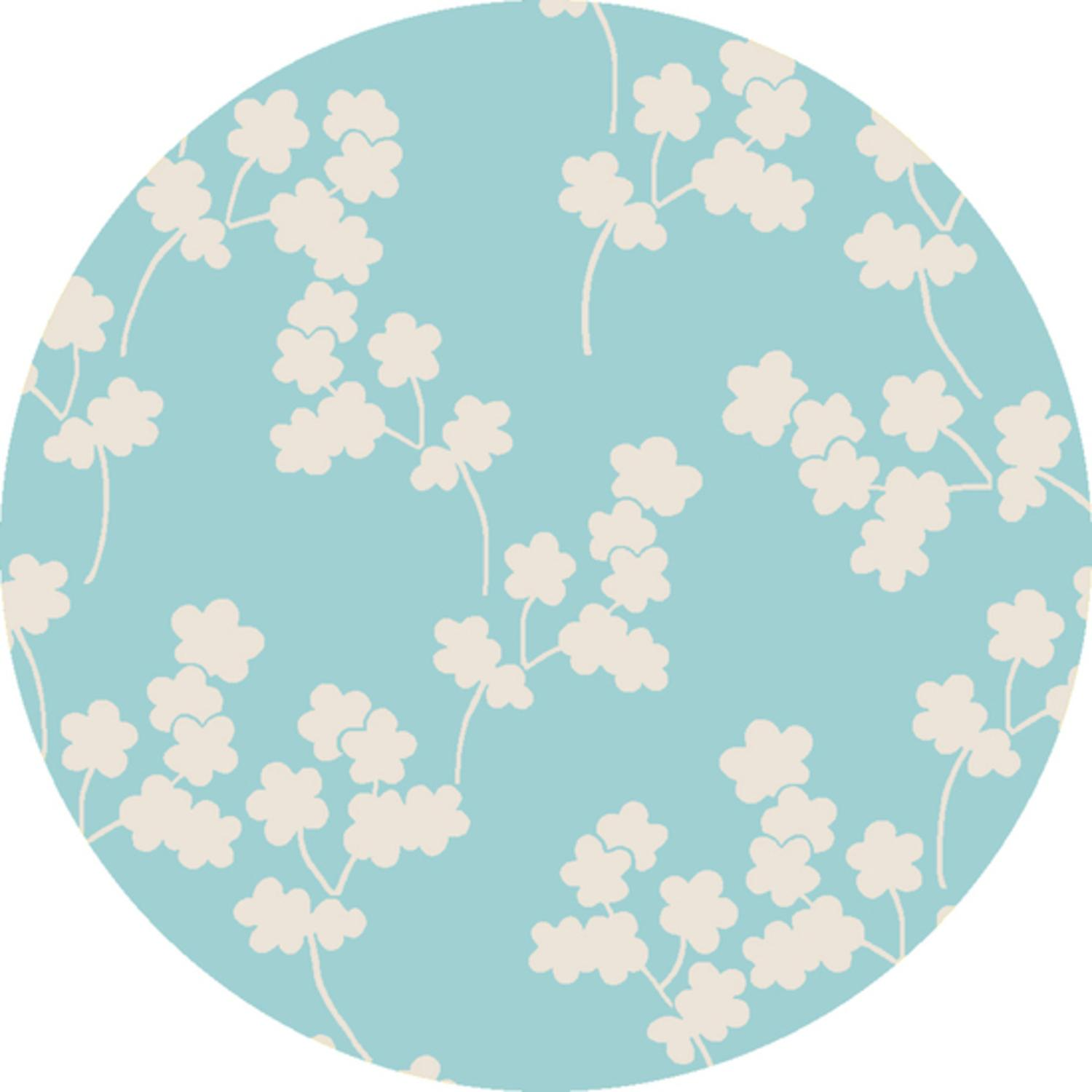 8' Falling Flower Cream and Sky Blue Hand Woven Wool Round Area Throw Rug