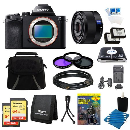 Sony Alpha 7 a7 Digital Camera, 35mm Lens, 2 64GB SDXC Cards, 2 Batteries Bundle - Includes Camera, 35mm Lens, 2 64GB SDXC Memory Cards, 2 NP-FW50 Camera Batteries, 49mm Filter Kit, Carrying Case an