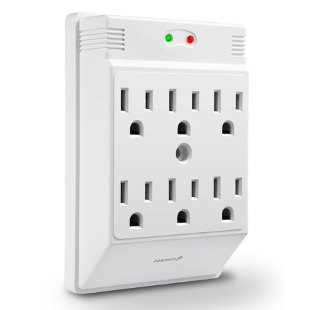 Fosmon 6 Outlet Wall Mount Surge Protector 700 Joules  3 Prong 1875Watts Wall Outlet Adapter  Etl Listed   White