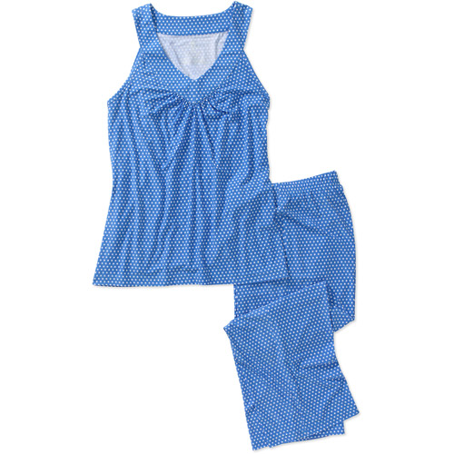 DF by Dearfoams Women's Plus V-Neck Top and Capri Pant PJ Set
