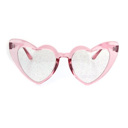 cc312d2442 SA106 - Womens Glitter Lens Heart Shape Plastic Valentine Cat Eye Sunglasses  Pink Clear - Walmart.com
