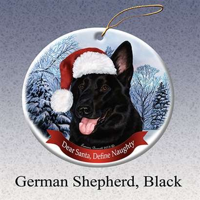 Holiday Pet Gifts German Shepherd (Black) Santa Hat Dog Porcelain Christmas Tree Ornament ()