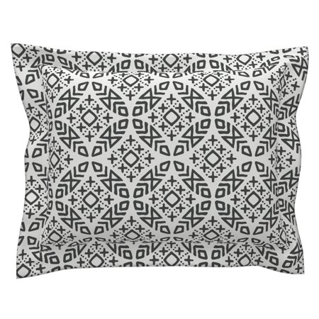 Moroccan Modern Mud Cloth Tribal Mudcloth Trendy Pillow Sham by Roostery
