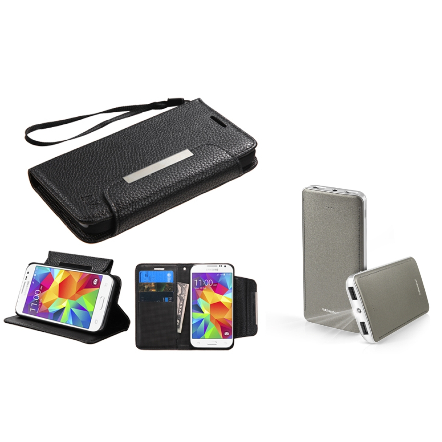 Insten Flip Leather Wallet Case with card slot For Samsung Galaxy Core Prime - Black (+ 10000mAh USB Portable Charger)