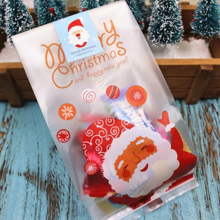 KABOER 50 X CHRISTMAS XMAS CELLOPHANE CELLO PARTY BAGS LOOT GIFT SWEET STOCKING FILLERS