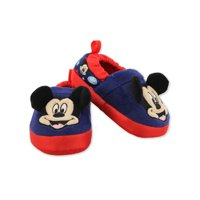 mickey mouse toddler boy's plush a-line slippers with 3d ears (5-6 m us toddler, navy)