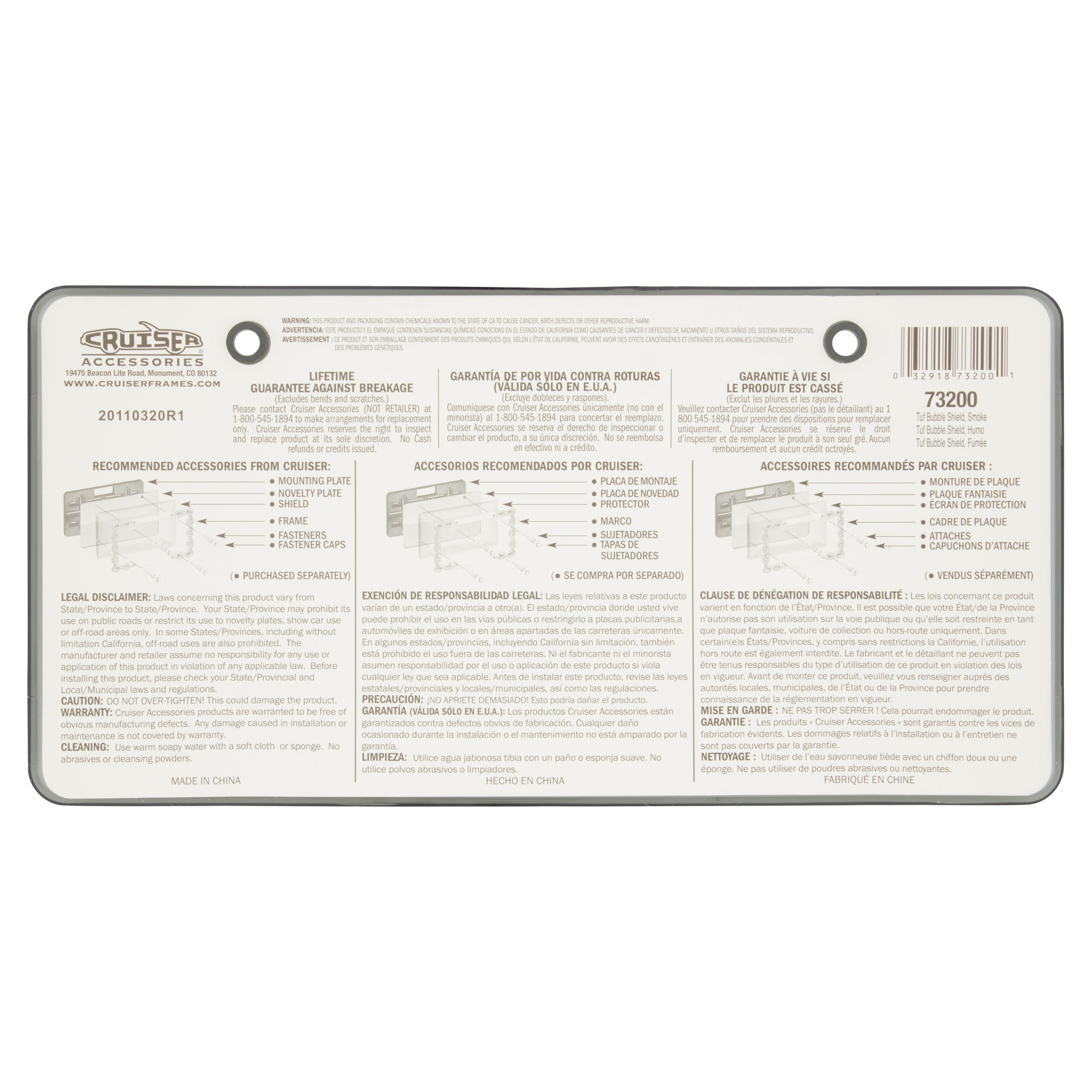 Cruiser Accesories Tuf Bubble Shield Smoke Novelty Plate - Walmart.com