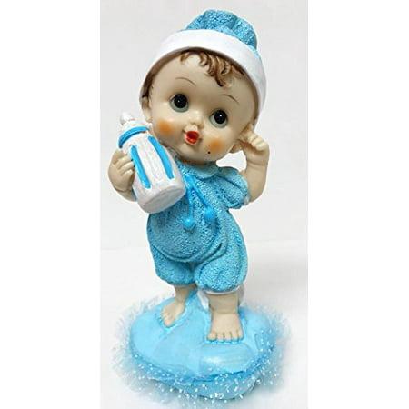 baby boy holding baby bottle baby shower cake topper favor