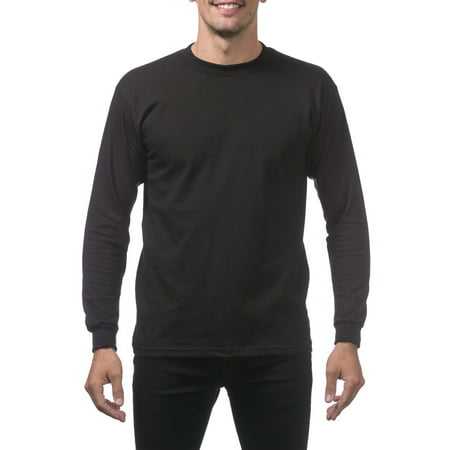 Black Cotton Tee - Pro Club Men's Heavyweight Cotton Long Sleeve Crew Neck T-Shirt, Small, Black