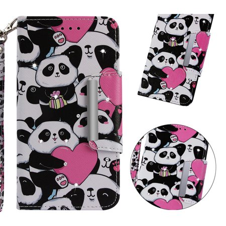 Galaxy J6 Plus/ J6 Prime 2018 Case, Allytech 3D Bling Crystal Rhinestone Slim PU Leather Flip Cover Stand Protective Book Case Cover for Samsung Galaxy J6 Plus/J6 Prime 2018 6.0 Inch, Love Panda (6 Inch 3d Crystal)