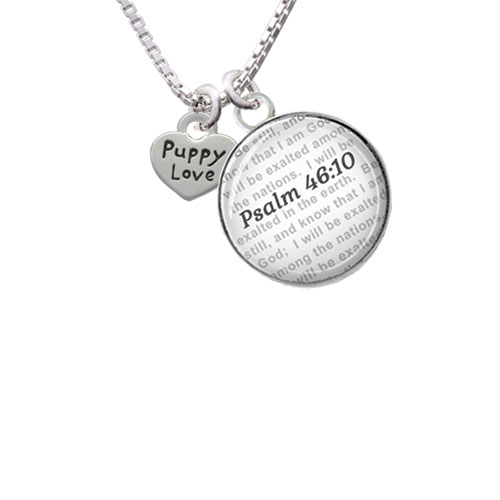 Mini Heart with ''Puppy Love'' - Bible Verse Psalm 46:10 Glass Dome Necklace