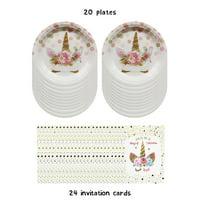 LaRibbons 20pcs Unicorn Dots Plates and 24pcs Unicorn Birthday Invitations with Envelopes for Kids Birthday Party