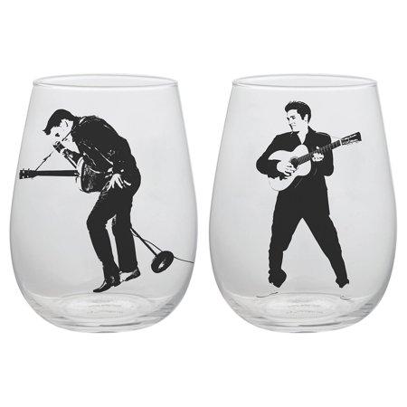 Vandor Llc Elvis Presley 2 piece 18 oz. Contour Glass tumblers
