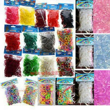 SET/LOT OF 3000 Pcs DIY LOOM RUBBER BANDS 600 pc 5 Bags Clips rainbow Colors GLOW IN DARK GLITTER METALLIC TIE DYE PLAIN NEON COLOR](Rubber Band Looms)