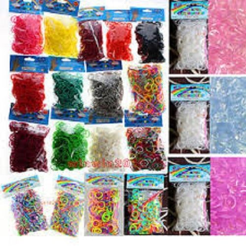 SET/LOT OF 3000 Pcs DIY LOOM RUBBER BANDS 600 pc 5 Bags Clips rainbow Colors GLOW IN DARK GLITTER METALLIC TIE DYE PLAIN NEON COLOR
