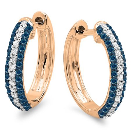 0.50 Carat (ctw) 10K Rose Gold Round Blue & White Diamond Ladies Pave Set Huggies Hoop Earrings 1/2 (Pave Set Round Diamond Earrings)