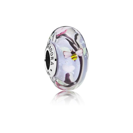 Bee charm in sterling silver w/iridescent, pink, black, green Charm 797014](Bee Charms)