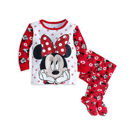 Disney Store Baby Girls Minnie Mouse PJ Pals Pajama Set, Red/White, 0-3 Months