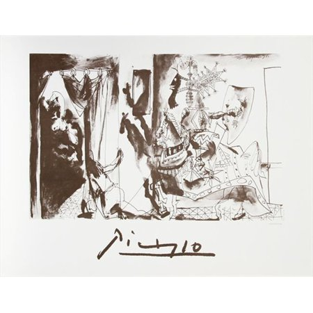 Pablo Picasso 2030 Chevalier En Armure  44  Page Et Femme Nue  44  Lithograph On Paper 29 In  X 22 In    Black And White