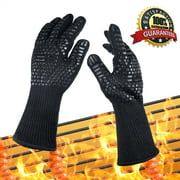 "BBQ Gloves, Ablegrid Extreme Heat Resistant Grill Gloves Anti-Slip Aramid Fiber Grilling Gloves 923F 14"" Long Oven Gloves Mitts for Outdoor Cooking Oven BBQ Grill - Black"