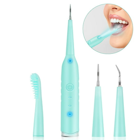 Electric Dental Calculus Remover High-Frequency Vibration Household Portable Tartar Removal Tool Scraper Toothbrush Teeth Cleaning Tools with 3 Replaceable Cleaning Heads, Blue