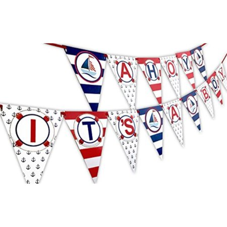 Ahoy It's A Boy Nautical Baby Shower Banner Pennant
