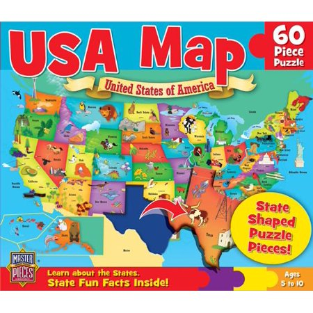 MasterPieces Explorer Kids - USA Map - 60 Piece Kids (Black Wellnessmats Puzzle Piece)
